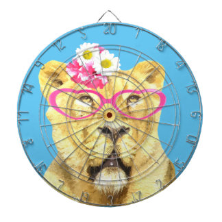 Animal funny cute zoo lioness watercolor dartboards