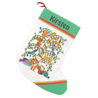 Animal Holiday Tree of Life Custom Name Small Christmas Stocking