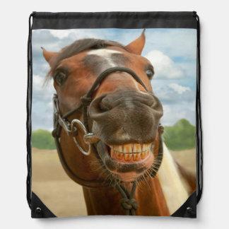 Animal - Horse - I finally got my braces off Drawstring Backpacks