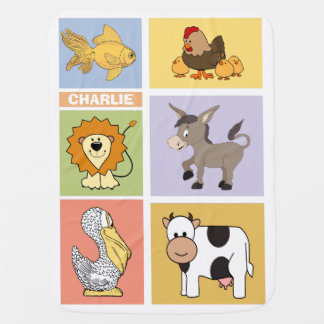 Animal Illustrations custom name baby blanket