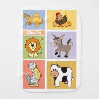 Animal Illustrations custom name burp cloth