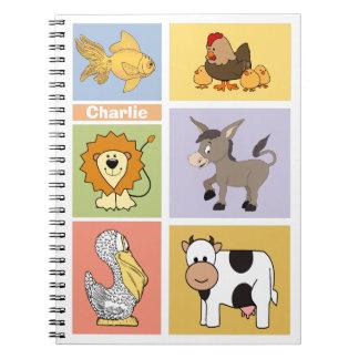 Animal illustrations custom name kid's notebook
