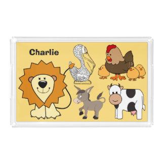 Animal illustrations custom name kids' tray