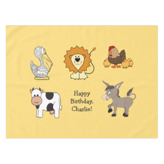Animal illustrations custom text kids' tablecloth