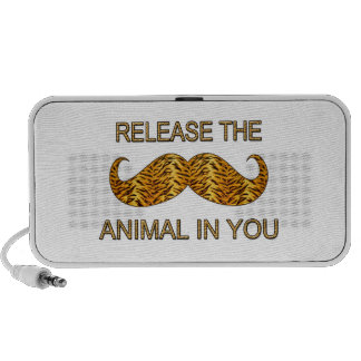 Animal In You Tiger Stripe Mustache Portable Speaker