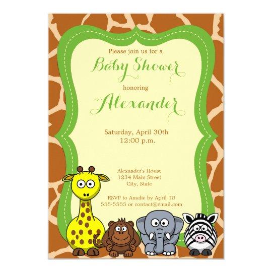 Animal jungle safari wild neutral baby shower card