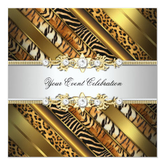 Animal Leopard zebra Tiger cheetah party 13 Cm X 13 Cm Square Invitation Card