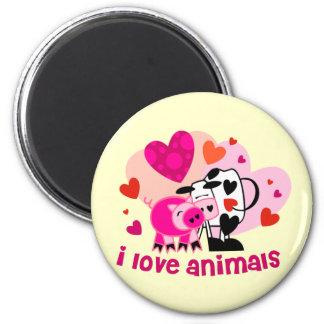 Animal Love 6 Cm Round Magnet