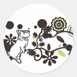 animal love flower round stickers