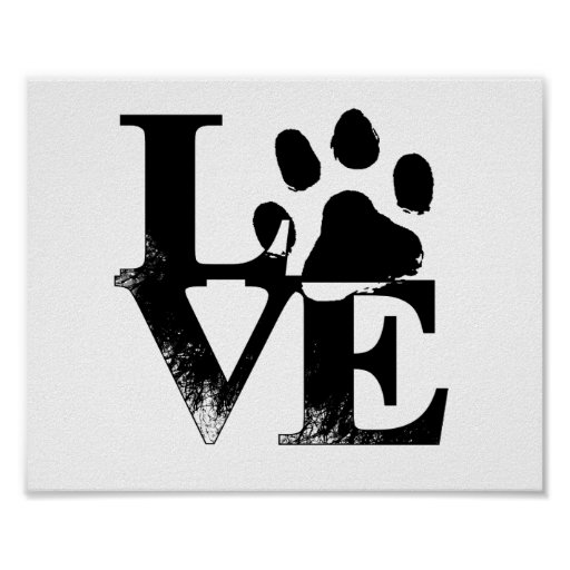 Animal Love Paw Print Poster