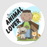 Animal Lover African American Boy Tshirts Stickers