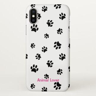 """Animal Lover"" | Black Paw Prints iPhone X Case"