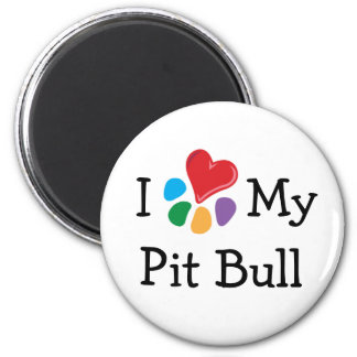 Animal Lover_I Heart My Pit Bull 6 Cm Round Magnet