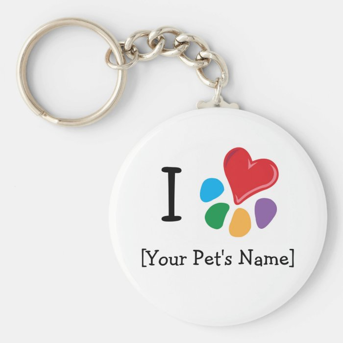 Animal Lover_I Heart template Basic Round Button Key Ring