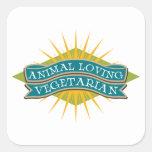 Animal Loving Vegetarian Square Stickers