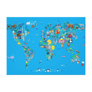 Animal Map of the World for children and kids Stretched Canvas Prints