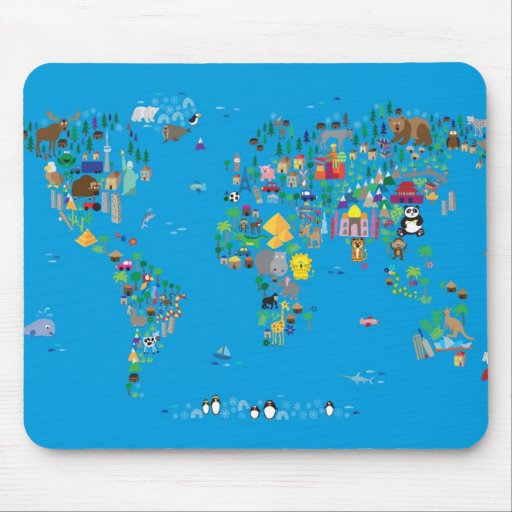 Animal Map of the World for children and kids Mousemat