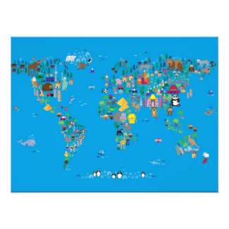 Animal Map of the World for children and kids Photo Print