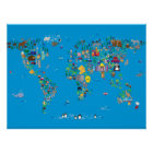 Animal Map of the World for children and kids Poster
