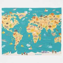 World map blankets bed blankets zazzle animal map of the world for kids fleece blanket gumiabroncs Image collections