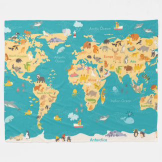 Animal Map of the World For Kids Fleece Blanket
