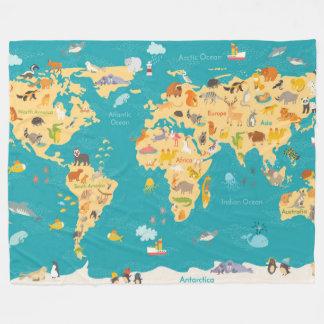 Animal Map of the World For Kids Fleece Blanket