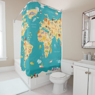 Animal Map of the World For Kids Shower Curtain