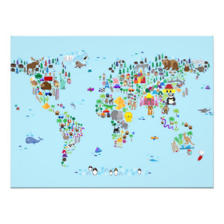Animal Map of the World Photographic Print