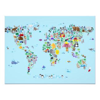Animal Map of the World Photo Print