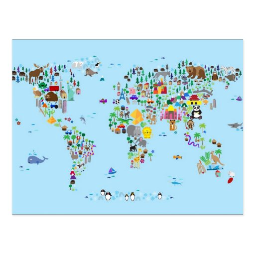 Animal Map of the World Postcards