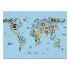 Animal Map of the World Poster