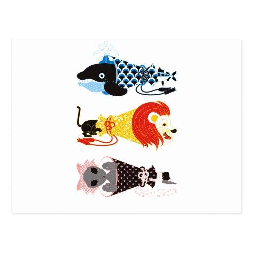 Animal megaphone…Fish cat woman (ANIMAL MEGAPHONE  Post Cards