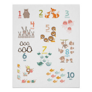 Animal numbers nursery print numbers Kids room
