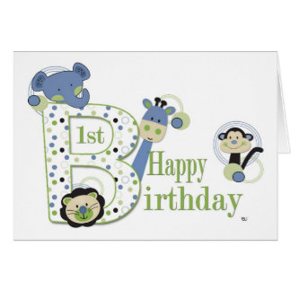 Animal Park 1st Birthday Card