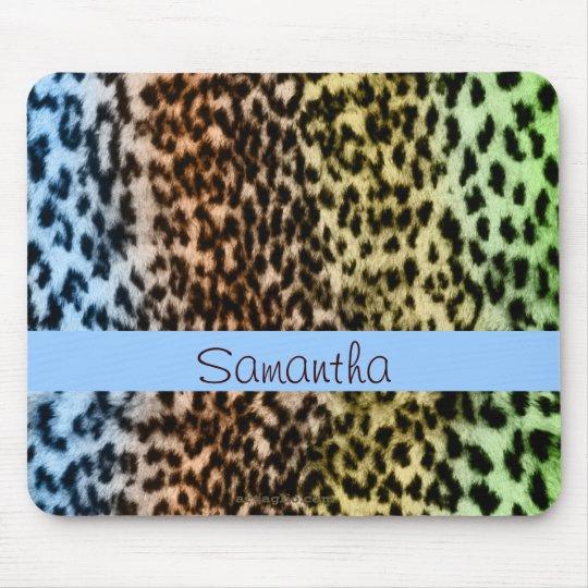 Animal pattern, brown, blue, monogram mouse mat