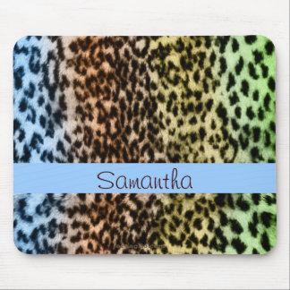 Animal pattern, brown, blue, monogram mouse pad