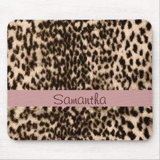 Animal pattern, brown, pink, monogram mouse pad