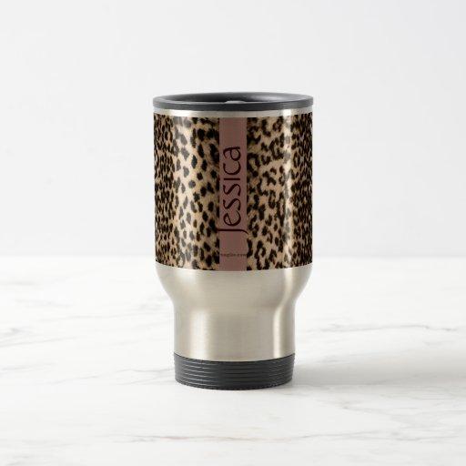 Animal pattern, brown, pink, monogram mug