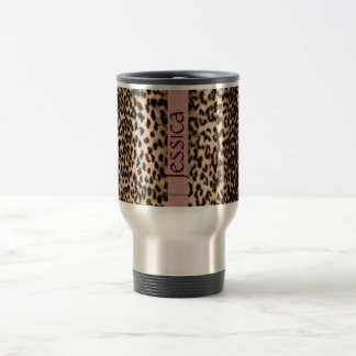 Animal pattern, brown, pink, monogram travel mug
