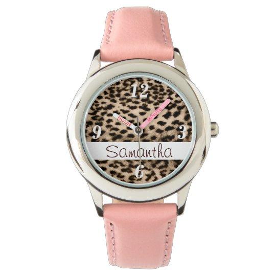 Animal pattern, brown, pink, monogram watch