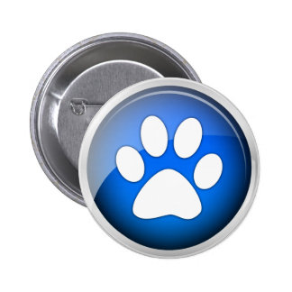 Animal Paw Print Blue Icon 6 Cm Round Badge