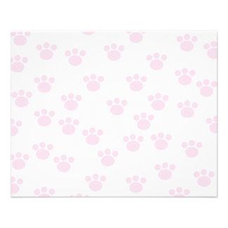 Animal Paw Print. Light Pink and White Pattern. 11.5 Cm X 14 Cm Flyer