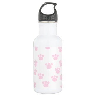 Animal Paw Print. Light Pink and White Pattern. 532 Ml Water Bottle