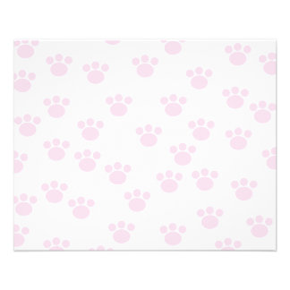 Animal Paw Print. Light Pink and White Pattern. Flyer