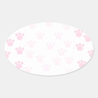 Animal Paw Print. Light Pink and White Pattern. Oval Sticker