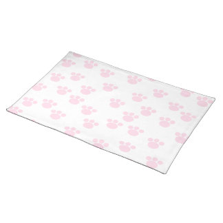 Animal Paw Print. Light Pink and White Pattern. Placemat