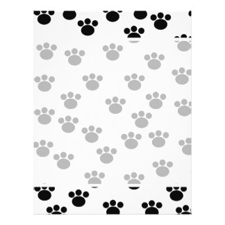 Animal Paw Print Pattern. Black and White. 21.5 Cm X 28 Cm Flyer