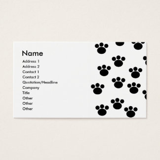 Animal Paw Print Pattern. Black and White. Business Card
