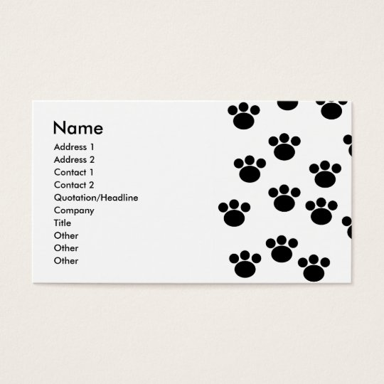 Animal Paw Print Pattern. Black and White. Business