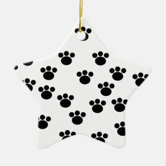 Animal Paw Print Pattern. Black and White. Christmas Ornament